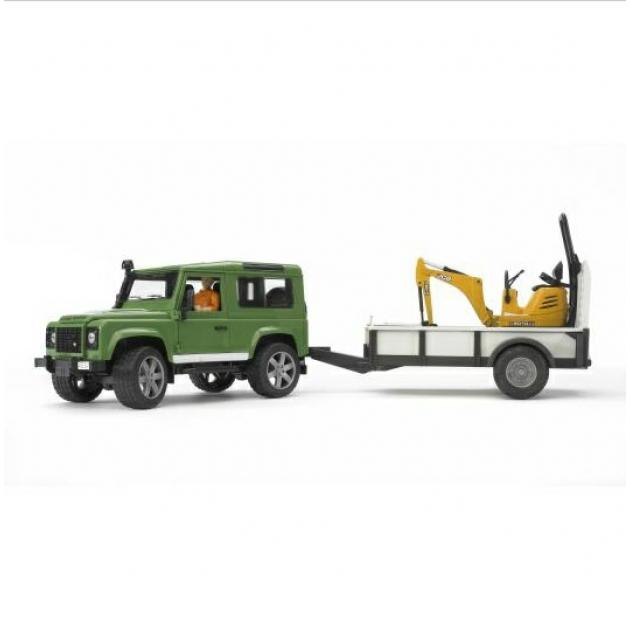 Игрушка джип внедорожник Land Rover Defender c прицепом и экскаватором 8010 CTS Bruder (Брудер) 02-593