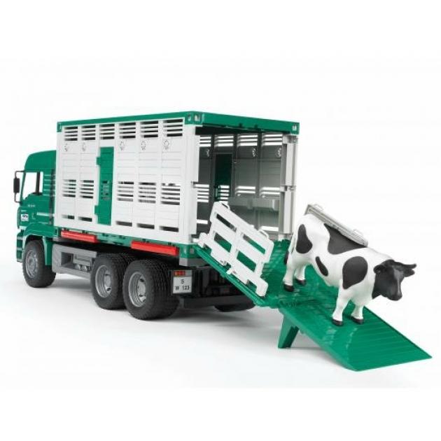 Фургон MAN для перевозки животных с коровой (подходит модуль со звуком и светом) Bruder (Брудер) (Арт. 02-749)