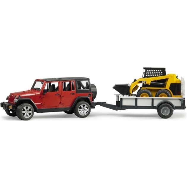 Игрушка джип внедорожник Jeep Wrangler Unlimited Rubicon c платформой и погрузчиком CAT Bruder (брудер) 02-925