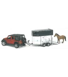 Внедорожник Jeep Wrangler Unlimited Rubicon c коневозкой и лошадью Bruder 02-926...