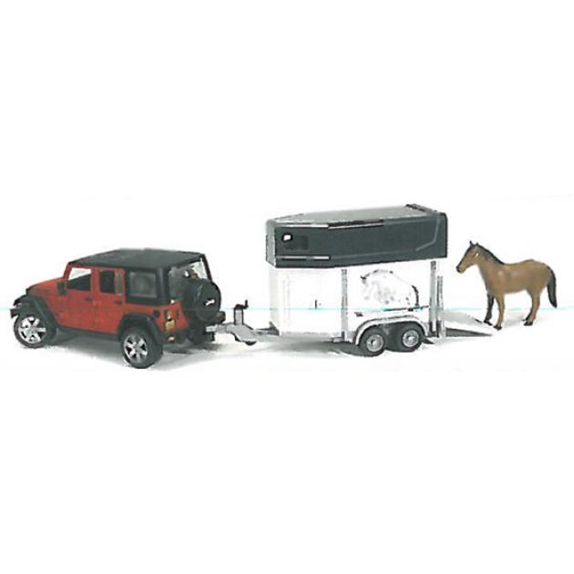 Игрушка джип внедорожник Jeep Wrangler Unlimited Rubicon c коневозкой и лошадью Bruder (брудер) 02-926