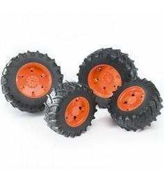 Шины для системы сдвоенных колёс  с оранжевыми дисками Bruder (Брудер) 03-302...