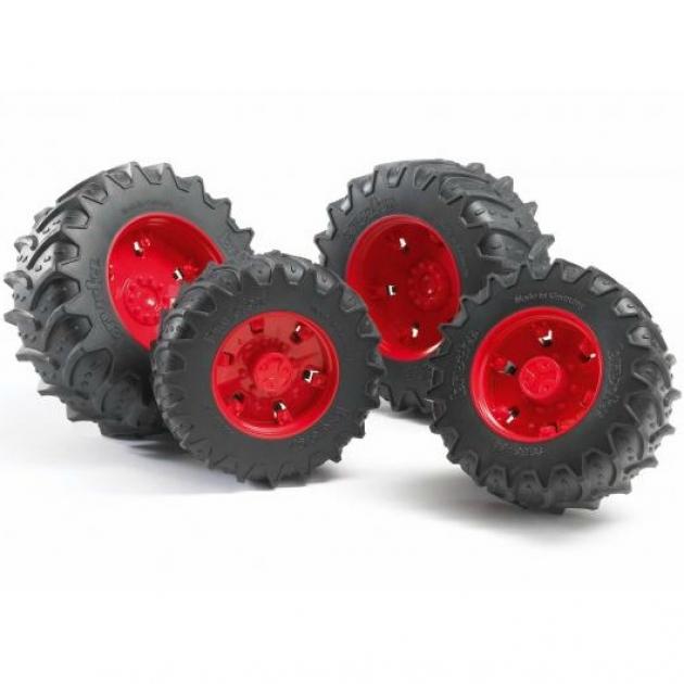 Шины для системы сдвоенных колёс с красными дисками 4шт. Bruder (Брудер) (Арт. 03-303) (Аксессуары K)