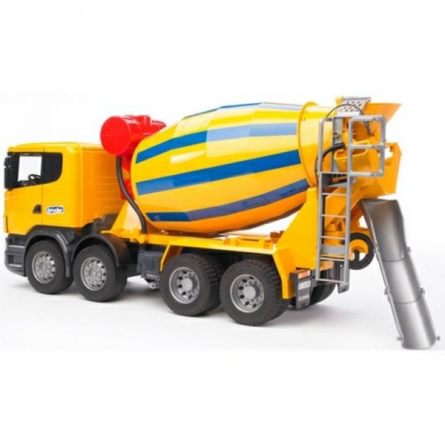 Бетономешалка Scania (цвет жёлто синий) (подходит модуль со звуком и светом Bruder (Брудер) (Арт. 03-554)