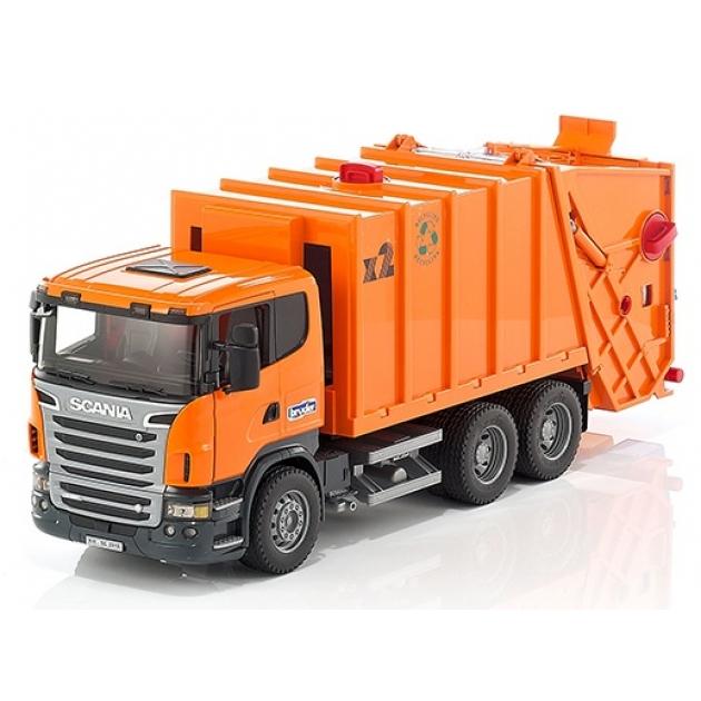 Мусоровоз Scania (цвет оранжевый) (подходит модуль со звуком и светом Bruder (Брудер) (Арт. 03-560)