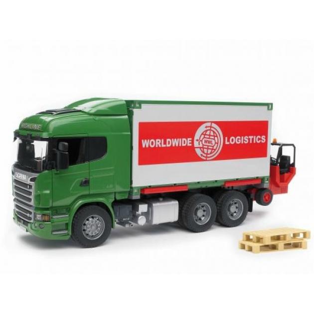 Фургон Scania с погрузчиком и паллетами (подходит модуль со звуком и светом Bruder (Брудер) (Арт. 03-580)