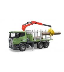 Лесовоз Scania с краном и брёвнами Bruder 03-524