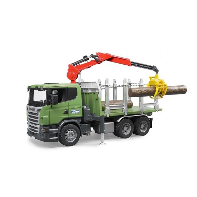 Лесовоз Scania с портативным краном и брёвнами Bruder (Арт. 03-524 03524)