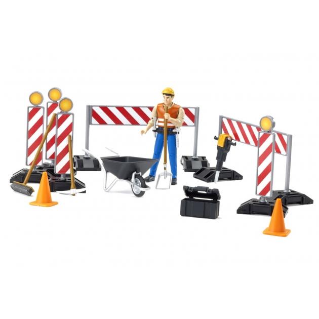 Набор знаков дорожных работ с фигуркой рабочего Bruder (Брудер) (Арт. 62-000)