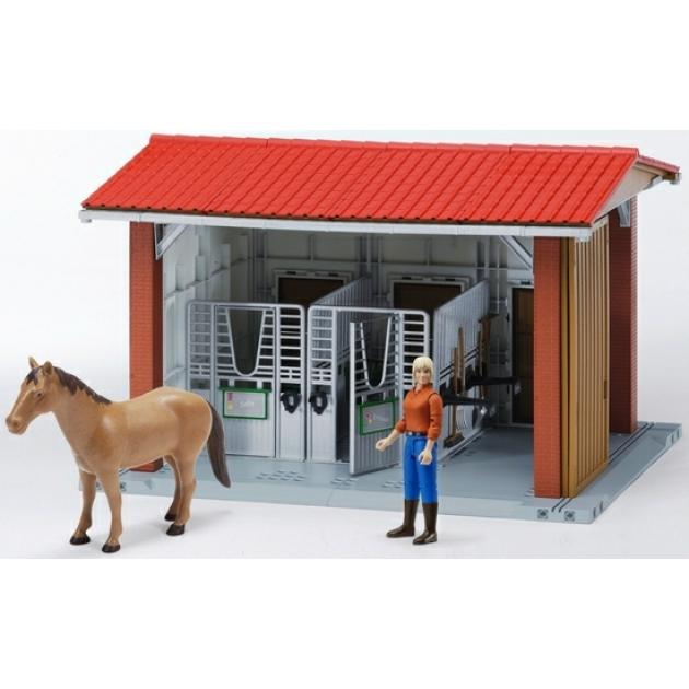 Конюшня с всадницей и лошадью (разм.48*36*31см) Bruder (Брудер) (Арт. 62-520)