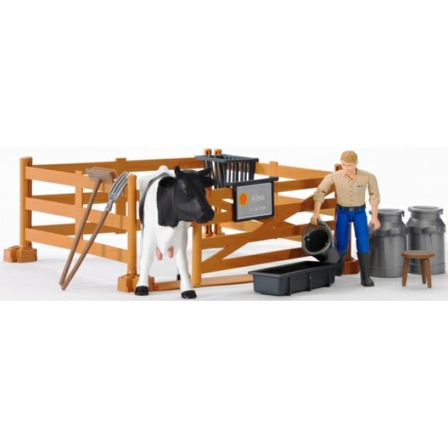 Набор фермера с загоном, коровой и рабочим с аксессуарами Bruder (Брудер) (Арт. 62-600) (Аксессуары K)
