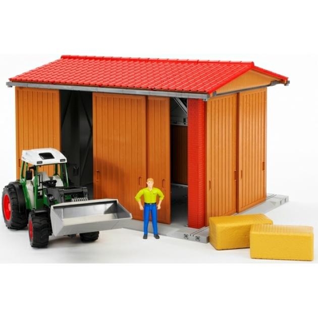 Детский гараж для транспорта с трактором Fendt 209 S с погрузчиком, фигуркой и аксессуарами Bruder (Брудер) 62-620