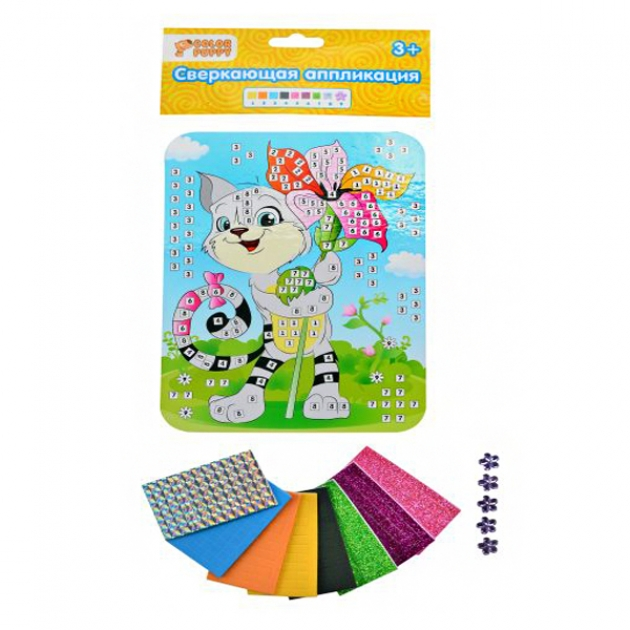 Набор для творчества Color Puppy сверкающая аппликация котик