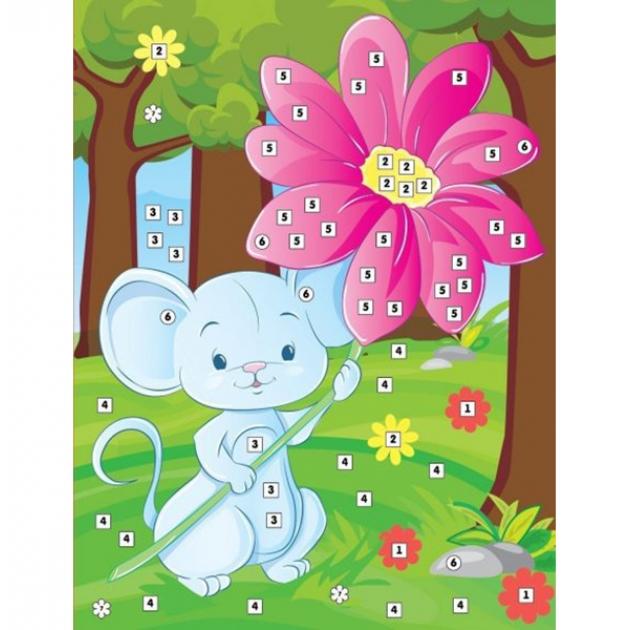 Аппликация по номерам Color Puppy мышонок с цветком