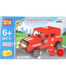 Детский конструктор Город Мастеров Пожарная служба Уаз Hunter со звуком BB-8847-RS