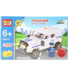 Детский конструктор Город Мастеров Полиция Уаз Hunter со звуком BB-8848-RS...