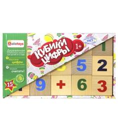 Обучающие кубики Alatoys цифры деревянные неокраше...