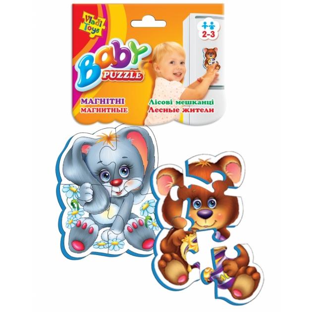 Пазлы для малышей Vladi Toys магнитные беби пазлы лесные жители артикул VT3208-03