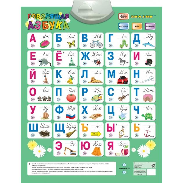 Электронный звуковой плакат Знаток говорящая азбука (обр 2006г) (4 режимные кнопки) артикул PL-02-RU