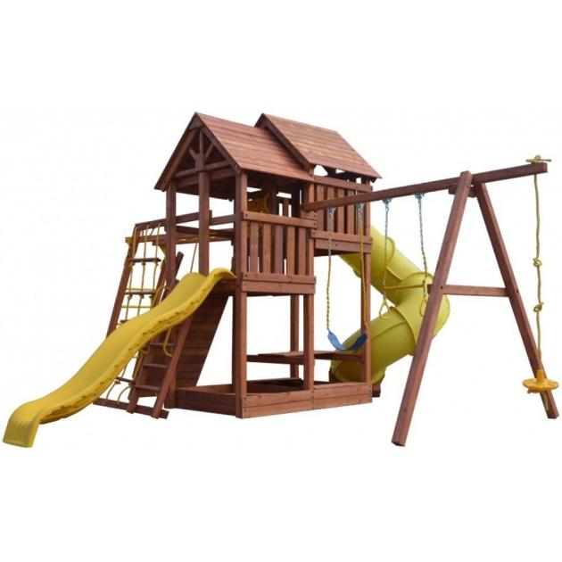 Детский игровой комплекс деревянный PlayGarden SkyFort Deluxe2 с рукоходом