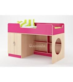 Кровать чердак для девочки Легенда 2 без лестницы венге светлый розовый