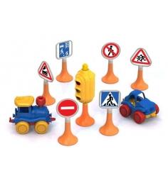 Дорожные знаки 3 светофор 6 знаков 2 машинки нордик Нордпласт 887