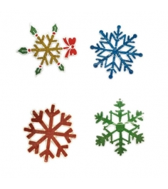 Наклейка гелевая снежинка цветная в ассорт Новогодняя сказка 973098