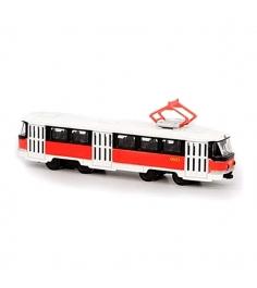 Инерционный трамвай автопарк tatra t3su с красной полосой 1:87 Play Smart А74827