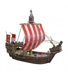 Сборная игрушка из картона средневековый город ганзейский когг Умная Бумага 268